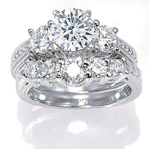 3067 - Matching Set Diamond Engagement Ring And Wedding Ring (1.6 Ct. Tw.)