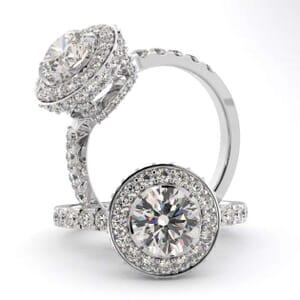 3072 - Diamond Engagement Ring Set With Round Brilliant Cut Diamonds (0.65 Ct. Tw.)
