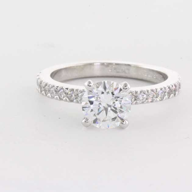 Platinum Set With 1.03 Carat Round Diamond F Colour SI2 Clarity GIA Certified