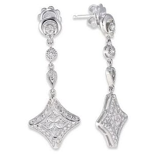 3267 - Diamond Drop Earrings 3/4 Carat, Set With Round Brilliant Diamonds