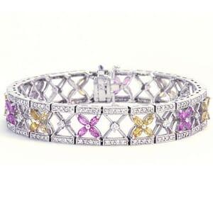 3337 - Bracelet With Gemstones 2.7 Carat, Set With Round Brilliant Diamonds