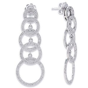 3432 - Diamond Drop Earrings 1.3 Carat, Set With Round Brilliant Diamonds