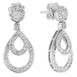 3452 - Diamond Drop Earrings 1.1 Carat, Set With Round Brilliant Diamonds