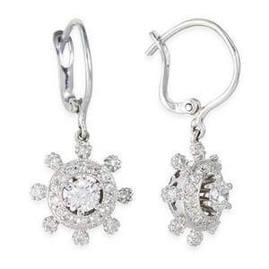 3462 - Diamond Drop Earrings 0.49 Carat, Set With Round Brilliant Diamonds