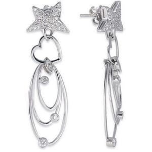 3497 - Diamond Drop Earrings 3/4 Carat, Set With Round Brilliant Diamonds