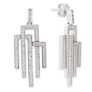 3517 - Diamond Drop Earrings 1.35 Carat, Set With Round Brilliant Diamonds