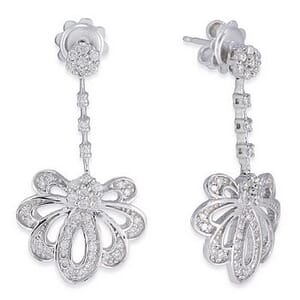 3522 - Diamond Drop Earrings 3/4 Carat, Set With Round Brilliant Diamonds