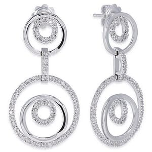 3537 - Diamond Drop Earrings 0.85 Carat, Set With Round Brilliant Diamonds