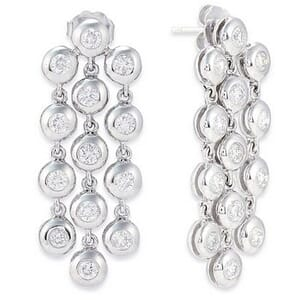 3547 - Diamond Drop Earrings 1 3/4 Carat, Set With Round Brilliant Diamonds