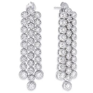 3552 - Diamond Drop Earrings 2 1/2 Carat, Set With Round Brilliant Diamonds