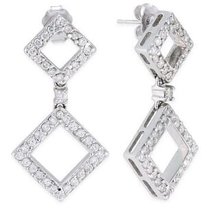 3557 - Diamond Drop Earrings 1.00 Carat, Set With Round Brilliant Diamonds