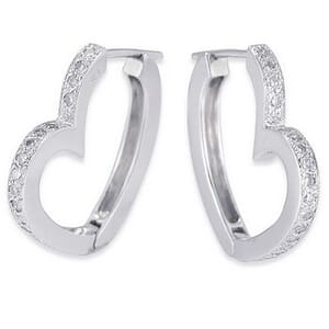 3562 - Diamond Heart Earrings 0.6 Carat, Set With Round Brilliant Diamonds
