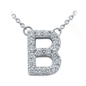3692 -  Pavé Diamond Letter B Pendant