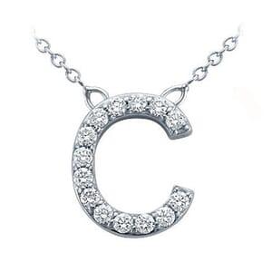 3697 -  Pavé Diamond Letter C Pendant