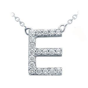 3707 -  Pavé Diamond Letter E Pendant