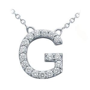 3717 -  Pavé Diamond Letter G Pendant