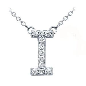 3727 -  Pavé Diamond Letter I Pendant