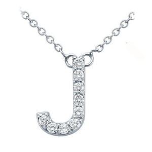 3732 -  Pavé Diamond Letter J Pendant