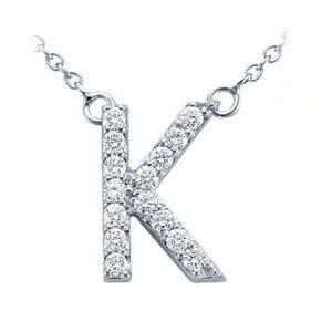 3737 -  Pavé Diamond Letter K Pendant