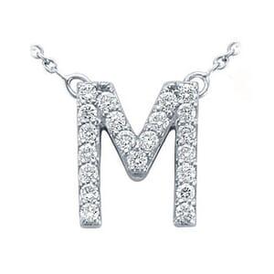 3747 -  Pavé Diamond Letter M Pendant