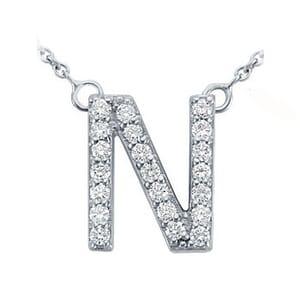 3752 -  Pavé Diamond Letter N Pendant
