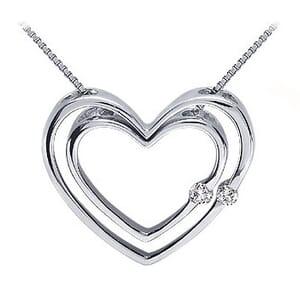 3762 -  Double Diamond Heart Pendant