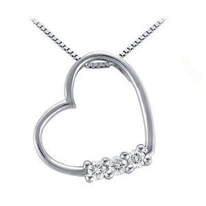3767 -  Triple-Stone Diamond Heart Pendant