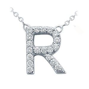 3792 -  Pavé Diamond Letter R Pendant