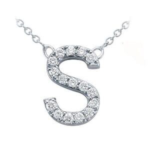 3797 -  Pavé Diamond Letter S Pendant