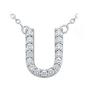 3807 -  Pavé Diamond Letter U Pendant