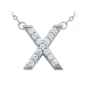 3822 -  Pavé Diamond Letter X Pendant