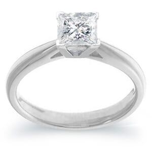 3996 - Platinum Solitaire 1.00 Carat Princess Cut Diamond Ring