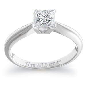 4086 - 1.00 Carat Princess Cut Soltiaire Engagement Ring