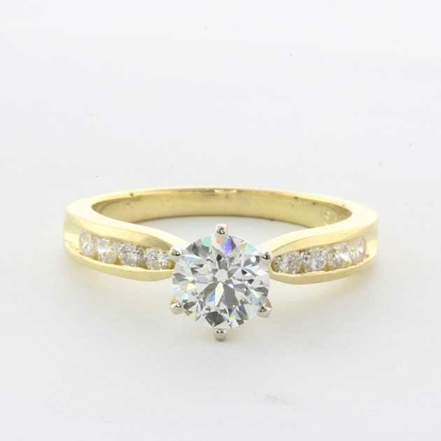 18K Yellow Gold Set With 1.01 ct Round Diamond I SI2 GIA EX Pol  VG Sym Cert #6175361837