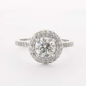 5303 - 2 rows halo diamond engagement ring setting
