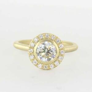 5360 - Brushed Bezel Set Halo Engagement Ring