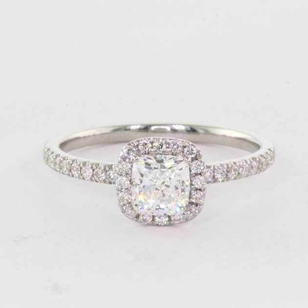 18K White Gold Set With 0.70 Carat Cushion Diamond H Colour VS1 Clarity GIA Certified