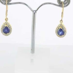 5371 - halo blue sapphires diamond earrings