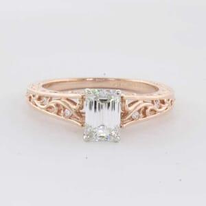 5392 - Art Deco Filigree Design Diamond Engagement Ring