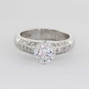 5437 - three row pave diamond engagement ring