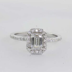 5442 - rectangle single halo engagement rings
