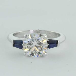 5444 - engagement ring setting set with 4 sapphire baguettes