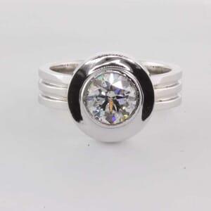 5468 - wide bezel set engagement ring setting