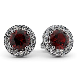 5493 - Round Granet Bezel Round Diamond Stud Earrings