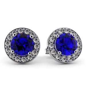 5499 - Round Amethyst Bezel Round Diamond Stud Earrings