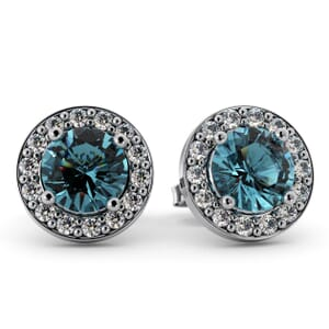 5505 - Round Aquamarine Bezel Round Diamond Stud Earrings