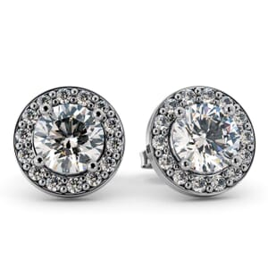 5511 - Round Diamond Bezel Round Diamond Stud Earrings