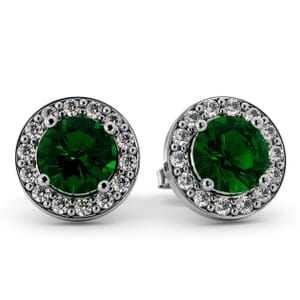 5517 - Round Emerald Bezel Round Diamond Stud Earrings