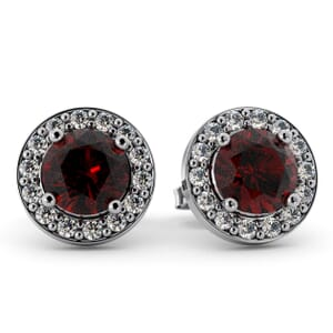 5523 - Round Ruby Bezel Round Diamond Stud Earrings