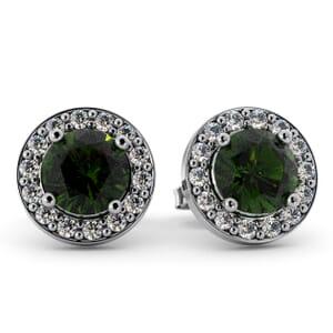 5529 - Round Peridot Bezel Round Diamond Stud Earrings